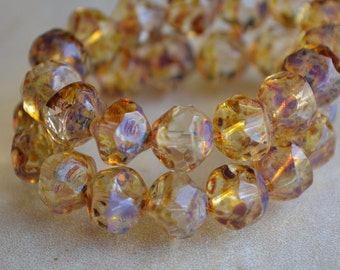 10 Czech Glass Picasso 8mm Central Cut Beads- Transparent (124-10)