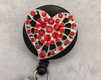 Red Crystal Heart Bling  Retractable Badge Reel - Decorative Badges -  Alligator Swivel Pinch Clip – Nursing Badge Clip