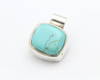 Chunky Modernist Rectangular Slide Pendant in Turquoise and Sterling Silver. [8766]