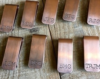 Groomsmen Money Clips, Wedding Money Clips, Initial Money Clip, Hand Stamped Copper Money Clip, Monogram Moneyclip, Custom Men's Money Clip