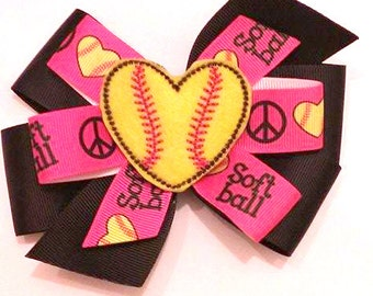 Softball Hair Bow , Softball Pinwheel , Peace Love Softball , Softball Hair Clip , Softball Team Bows