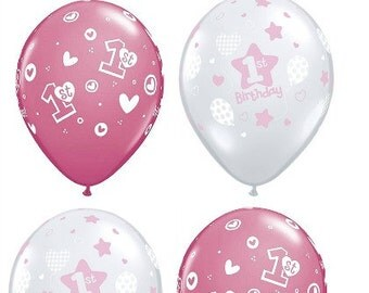 1st Birthday Girl Clear and Pink Latex Balloons, Girl 1st Birthday, One year old birthday balloons