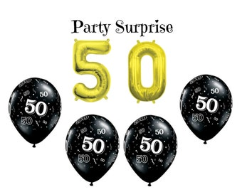 50th Birthday Party Balloons, 50 Gold air filled number balloons, 50th Black and Gold Balloons, 50th Birthday Balloons