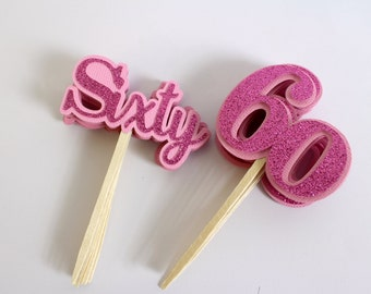 Pink Glitter Sixty Cupcake Toppers, Set of 12