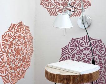 Floor stencil symmetric mandala stencil mandala stencil - Pochoir mural a peindre ...
