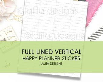 Full Lined Vertical Printable Sticker for Happy Planner