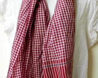 Red White Handwoven Cotton Scarf Women - Shawl/ Cowl/ Beach Cover - Gift for Her