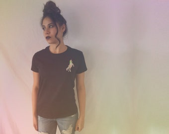 Unicorn in my pocket Hologram Print T-shirt By Fashionisgreat