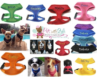 Personalized Soft Mesh Dog Harness Custom Embroidered with Name.  Choose color, size, letter style and thread color