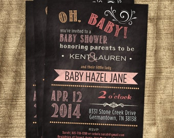 Baby girl shower invitation, Co-ed, Chalkboard Invitation, Custom Invitation, Baby Girl, Pink, Purple, Casual, Modern, Orange, Matching