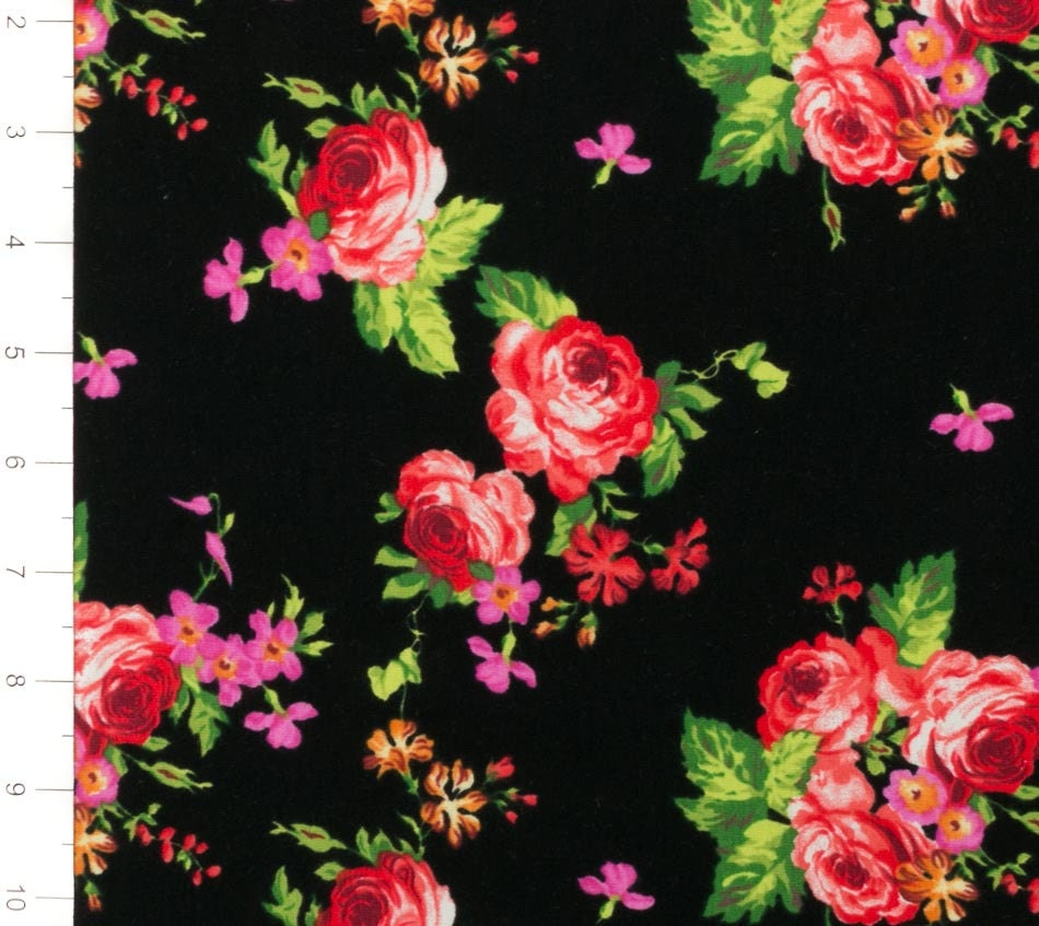 Pink and Red Floral on Black Knit Fabric