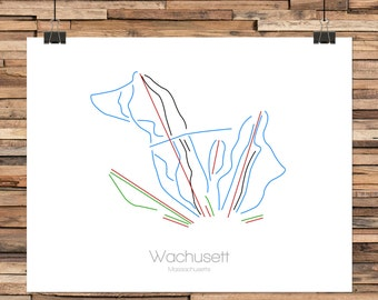 Wachusett Massachusetts - Modern Ski Trail Map - Line Drawing