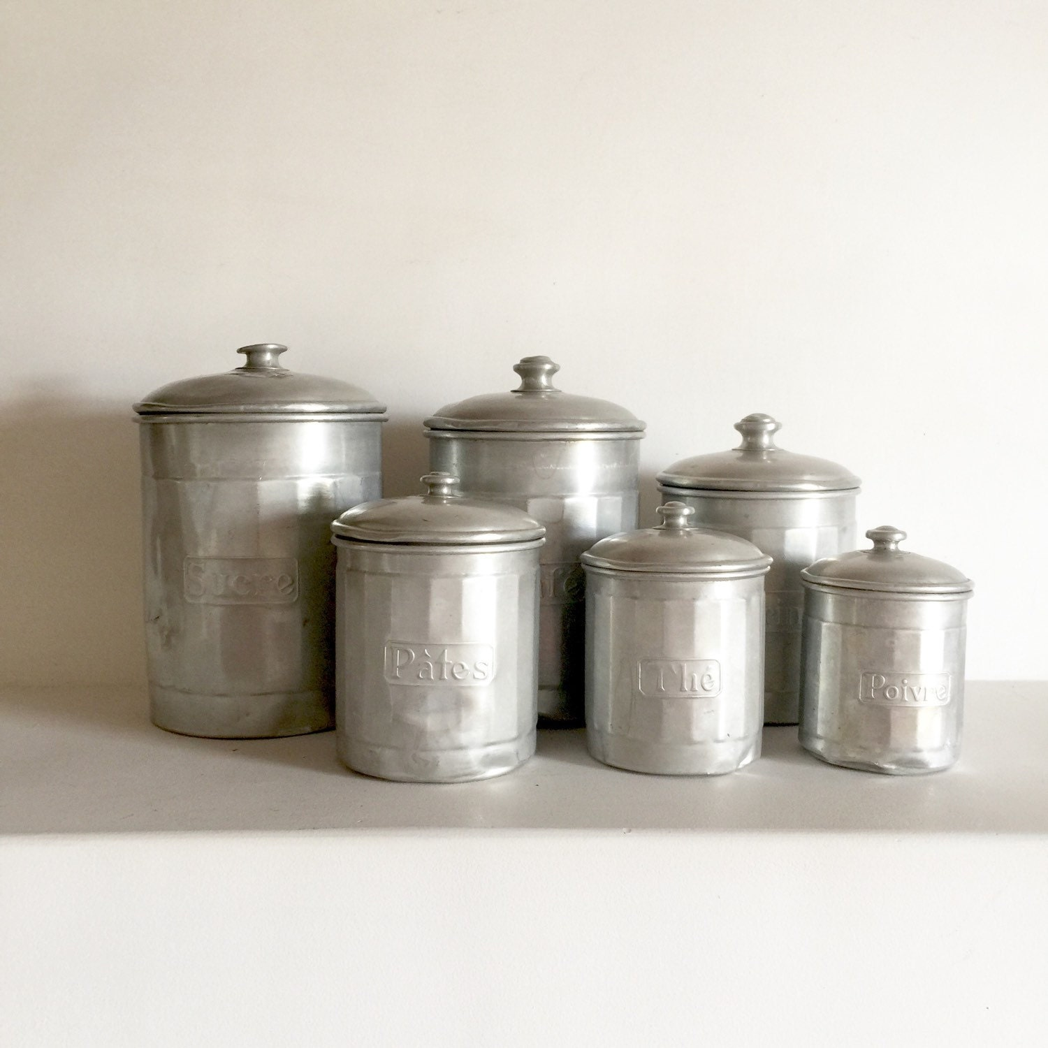 French vintage aluminum canister set french kitchen for Toko aluminium kitchen set