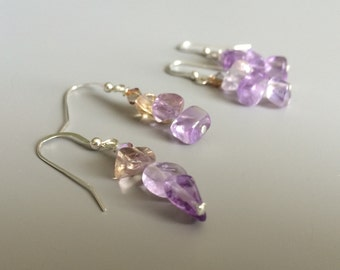 Ametrine Earrings - Ametrine Dangles - Purple Drop Earrings - Purple Dangles - Gemstone Earrings - Amethyst Earrings - Mothers Day Gift