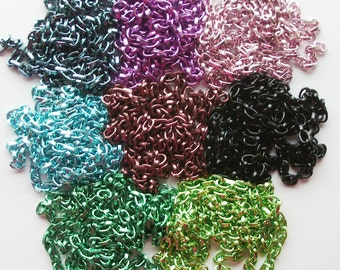 1m of Colourful Aluminium Oxidated Chain 5.5 x 8mm links, 2mm thick green burgundy black pink purple blue