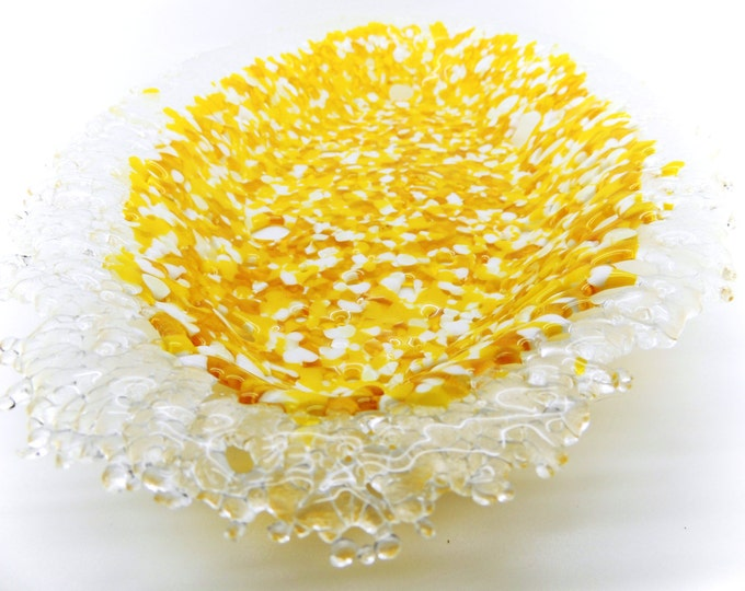 Yellow glass dish. Oval fused glass bowl. Contemporary glass art. Decorative gift for her. wedding anniversary, birthday, housewarming gifts