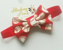 Baseball Headband - Fabric Bow Headband - Baseball Bows - Baby Headband - Photo Prop - Baby Girl Bows - Baseball Print - Infant Bows - Sport