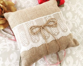 Rustic Ring Bearer Pillow With Lace