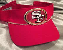 Sun Visor, SF 49er Cadet Hat, SF, 49er, Football Team,San Franciso Visor, Bling Visor, Red Visor, Womens Visor, Sworovski Crystal Visor
