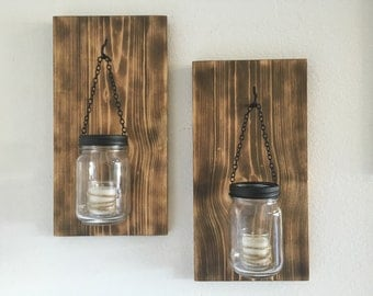 Hillbilly Mason Jar Sconces, torched wood sconces, wall sconces, country decor, farmhouse decor, mason jar sconce, mason jar decor, rustic