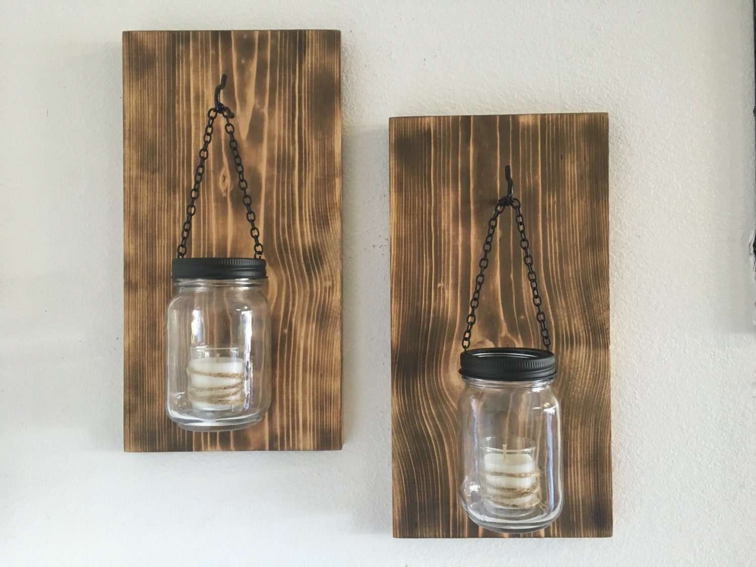 hillbilly mason jar sconces torched wood sconces wall - 🔎zoom