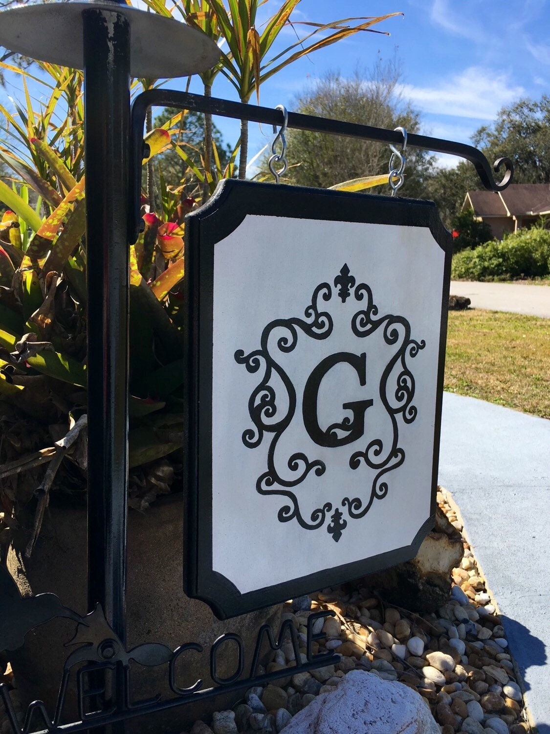 Monogram Flag Monogram Garden Sign Personalized Intial Sign