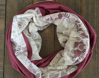 SALE-Burgundy Knit and Lace Infinity Scarf
