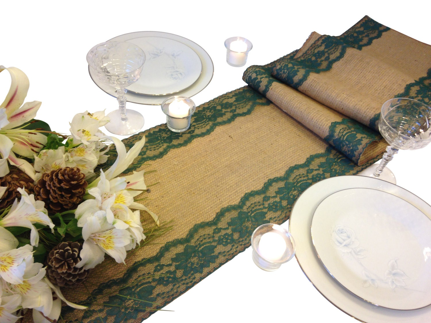 Burlap lace table runner dark green lace 16 30 ft 12 for 12 ft table runner