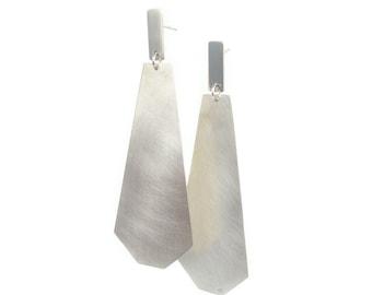 Hex Long Drop silver earring