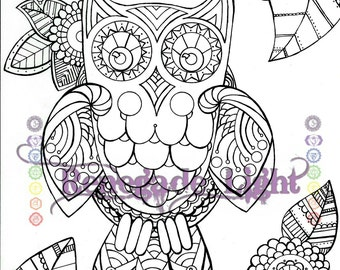 Zentangle Owl, coloring book owl, paisley owl, adult coloring book owl, owl meditation, coloring meditation owl, wise old owl zen