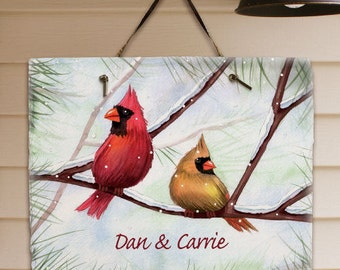 Personalized Welcome Cardinal Sign, Wall Plaque, Couples Plaque