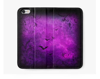 iPhone Wallet, Purple and Black, Bats and Swirls, Gothic Phone Case,