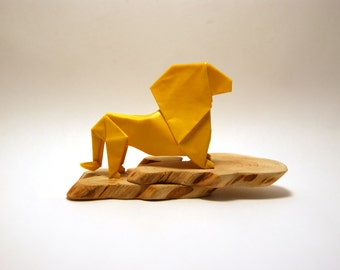 Origami Lion on Juniper Tree Base