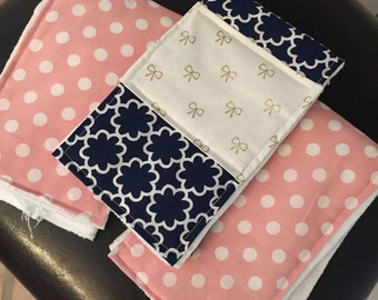 Baby Girl Pink and Navy Burp Cloths