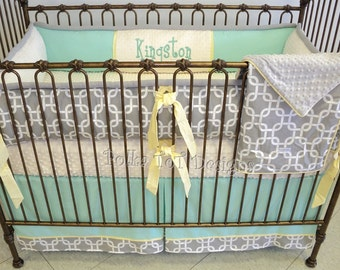 Mint Gray & Yellow Baby Bedding.  Kingston