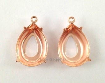 Rose Gold Plated OPEN BACK Teardrop Settings 18x13mm 1 Loop 10pcs