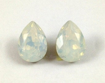14x10mm WHITE OPAL 4320 Swarovski Crystal Teardrops 2pcs or 8pcs