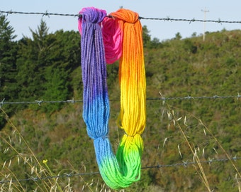 Handspun & Painted Merino Wool Yarn - Brilliant Rainbow, Super Bulky, 6 oz., 170 g., 130 yards