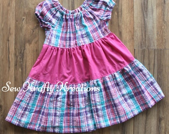 Children's Size 3 - Pink/Blue Plaid Summer Dress