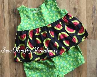 Little Girl's 2 Piece Set - Green Flowers & Watermelon with Green Flower Cotton Shorts