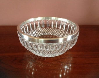 Vintage Lead Crystal Bowl with Silver Plate Rim