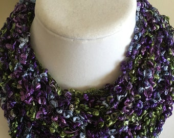 Purple, Blue, and Green Ribbon Cowl
