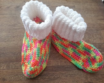 Neon Colors Cozy Crochet Slippers,  Medium
