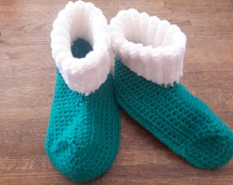 Teal And White Cozy Crochet Slippers,  Medium