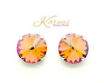 SUMMER BLUSH 14mm Crystal Rivoli Stud Earrings Made With Swarovski Elements *Rhodium or Antique Silver *Karnas Design Studio *Free Shipping