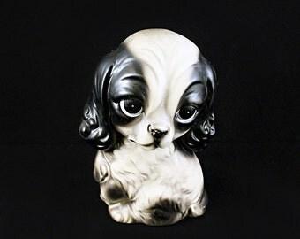 Vintage Big Eye Puppy Figurine - Black and White Ceramic Dog Sculpture - Ceramic Puppy - 70s Decor - Kitsch Dog