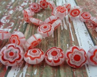 10 Beautiful Red White Millefiori Beads Flat Round Glass Beads Millefiori Thousand Flowers Beads Glass Flowers Through Bead Red White Flower