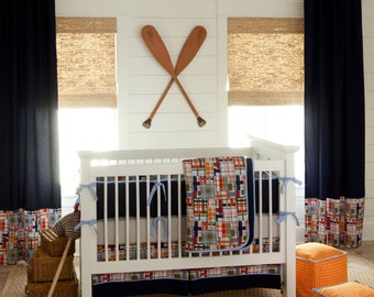 Boy Baby Crib Bedding: Coastal Crib Bedding - Fabric Swatches Only