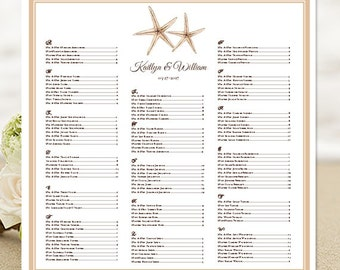 """Wedding Seating Chart """"Starfish"""" Template Printable Reception Seating Poster All Color Borders Available for Order DIY You Print"""