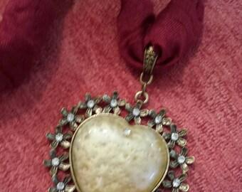 Bronze and Light Carmel Color Heart Shape Pendant on Burgandy Fabric Necklace
